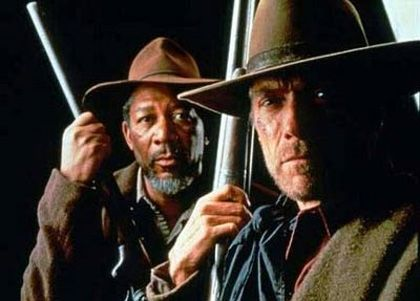 Morgan Freeman e Clint Eastwood in Gli Spietati